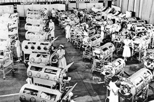 The iron lungs were huge machines that did their breathing for them.