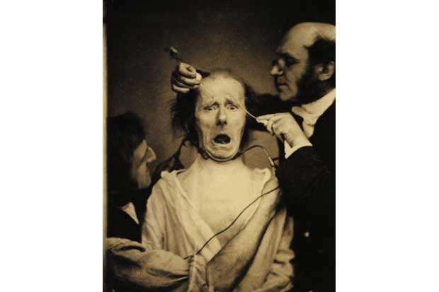 Electro-stimulation of facial muscles.