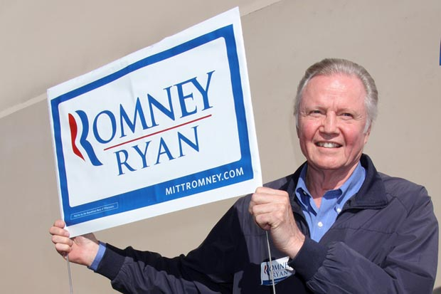 Jon Voight holds up a Romney/Ryan sign in support of Mitt Romney