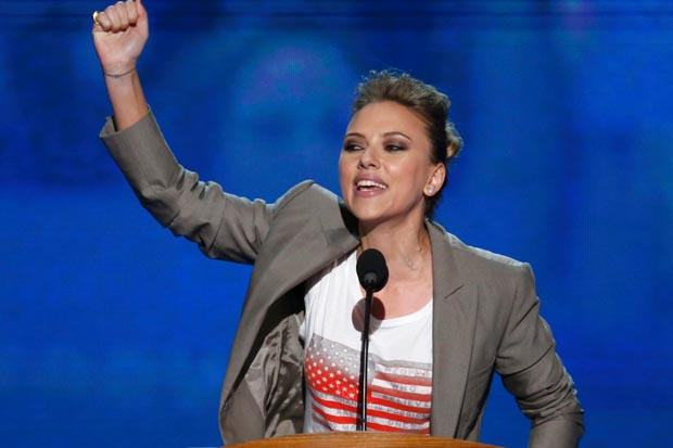 Scarlett Johansson speaks at a Democratic National Convention in support of Obama