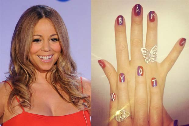 Singer Mariah Carey posted a picture of her Obama manicure on Instagram
