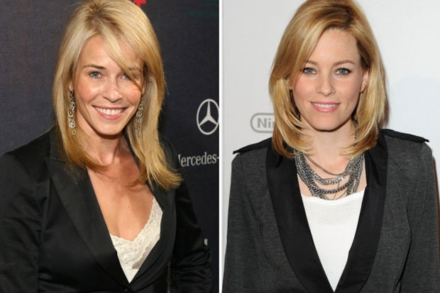 Chelsea Handler and Elizabeth Banks - hair cut and blazer make these two definitely look alike
