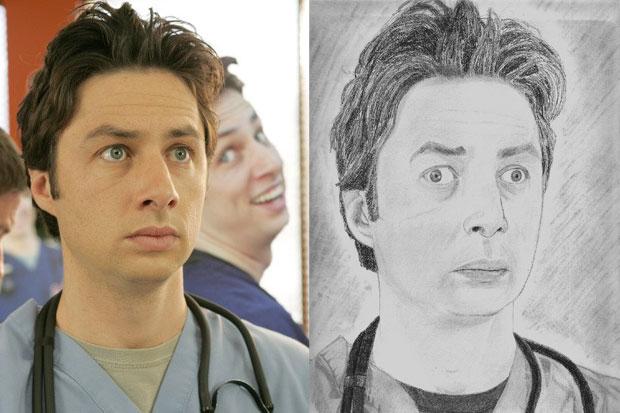 Poor JD. 'Scrubs' star Zach Braff looks a bit...dopey eyed.