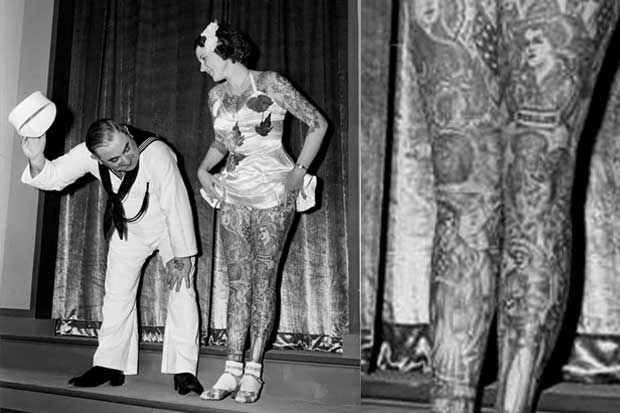 Betty Broadbent, a well-known tattooed lady, at the New York World's Fair, 1930s.