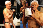 Raymond received a certificate confirming his title as the world's oldest competitive bodybuilder.