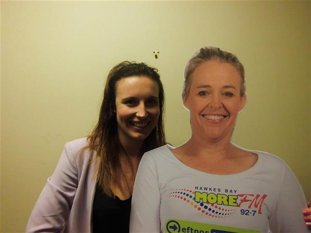 Polly Hunt meets her At A Home Amy Cut Out for the first time!  Text LIVE POLLY to 559 to vote for Polly.  Texts cost 20c. One vote p