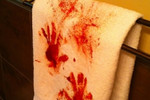 If you dare to mess up your nice towels, these fake blood stains will be sure to freak out guests.