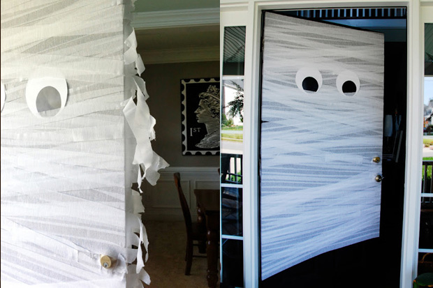 Paper streamers and paper eyes wrapped on your door suddenly becomes mummified.