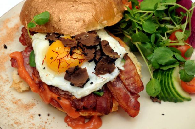 The Most Expensive Bacon Sandwich: The Bacon Bling from Western England. Includes 'rare breed bacon', black truffles,