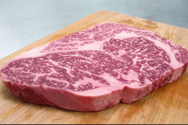 The Most Expensive Steak: Wagyu rib-eye from New York. It comes from cows raised in Hyogo, Japan,  feed on beer and are regularly massaged for meat tenderness. $2,800