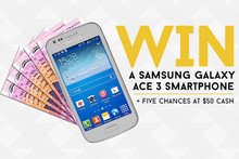 Win a Samsung Galaxy Ace 3 Smartphone or $50 Cash