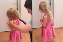Dad Uses Vacuum Cleaner To Give Daughter Perfect Ponytail