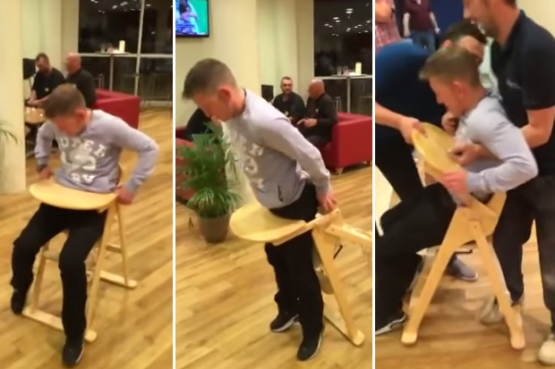 Man Gets Stuck in a Baby's High Chair