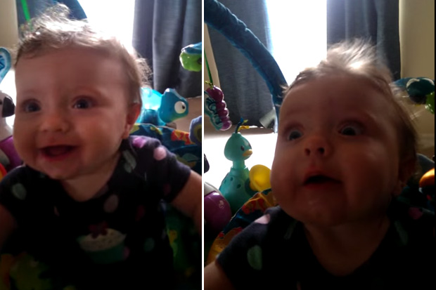 Dad Stuns His Baby By Blowing Air in Her Face