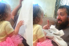 Little Girl's Bearded Dad Gives Her a Peekaboo Surprise
