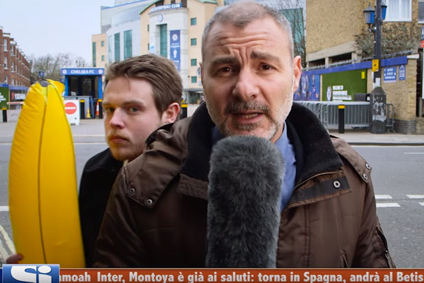 Live news reporter goes 'bananas' on video bomber