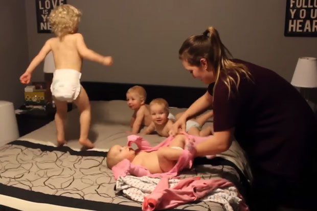 Mum of triplets and a toddler shows why parents are like superheroes