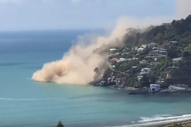 Sumner cliff collapses after Christchurch 5.7 earthquake