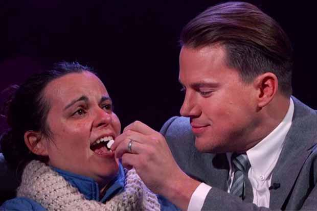 Channing Tatum whispers romantic things in stranger's ear