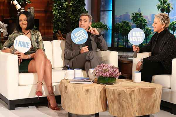 George Clooney and Rihanna play 'Never Have I Ever' with Ellen DeGeneres