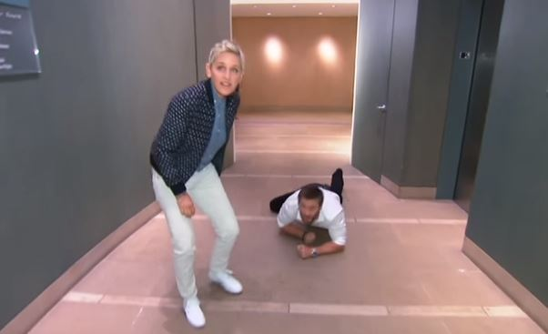 Ellen & Chris Hemsworth surprise office workers