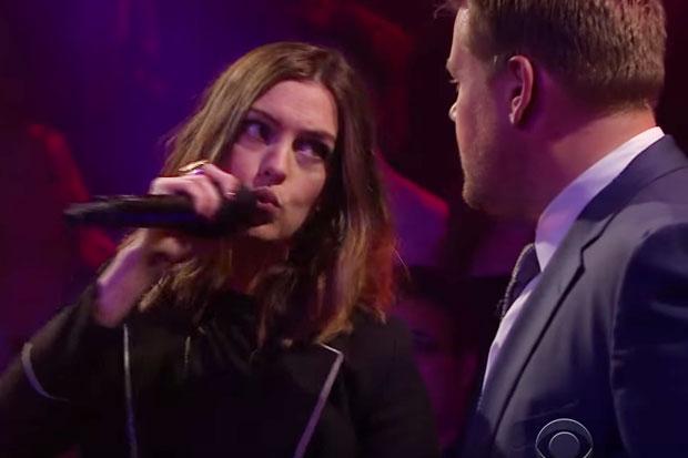 Anne Hathaway has a fiesty rap battle against James Corden
