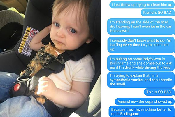 Dad's text messages to wife after child vomits makes for comedy gold