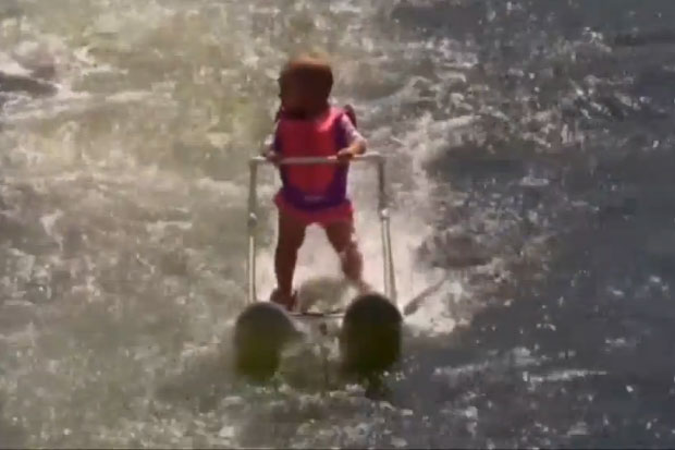 Watch this 6-month-old baby break a water-skiing record