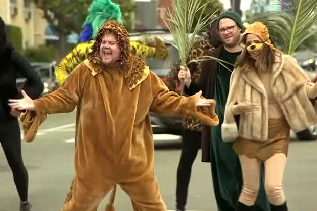 James Corden holds up traffic to perform The Lion King