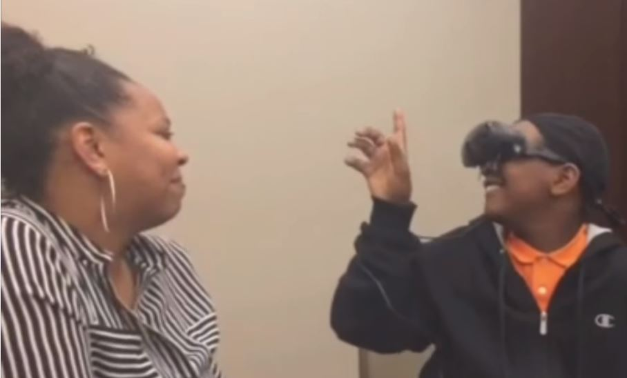 12 year old sees his mum for the first time