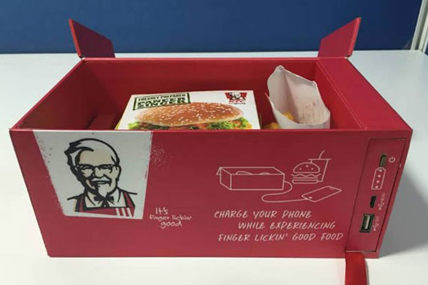 A KFC meal, and a phone charger in one box?