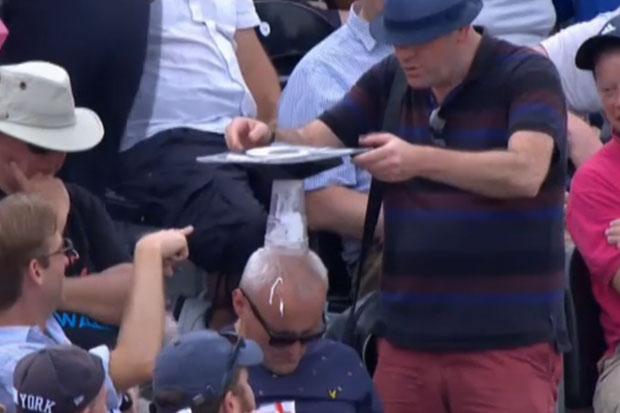 Asleep cricket fan becomes part of human jenga game