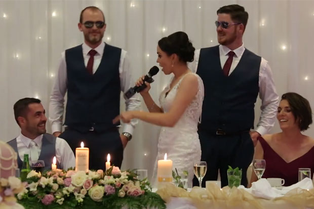 Bride surprises husband with 'Ice Ice Baby' wedding rap