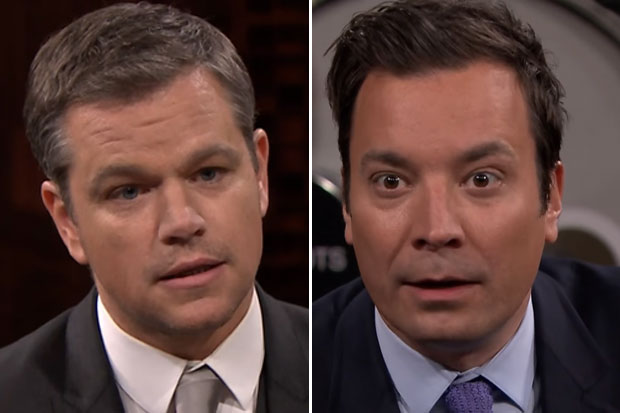 Matt Damon uses his poker face on Jimmy Fallon in 'Box of Lies'
