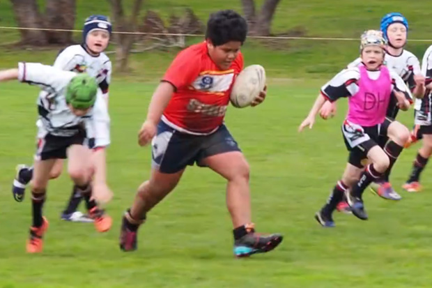 Viral video of powerful nine-year-old rugby league player divides parents