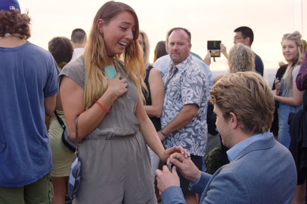 Boyfriend crashes girlfriend's holiday to propose