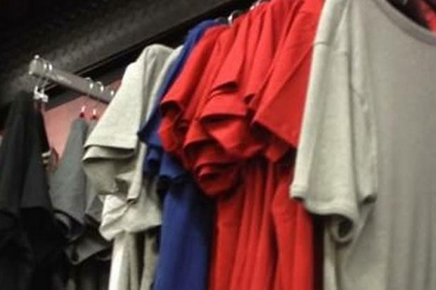 Can you see the creepy face in these shirts?