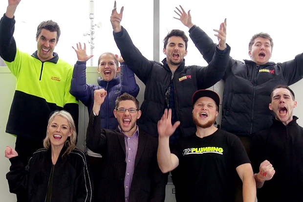 Andy jumps the Auckland Harbour Bridge with his Bungy Brigade