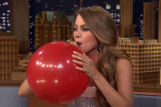 Sofia Vergara inhales helium with Jimmy Fallon