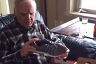 Dad jumps in surprise over light up sneaker shoes