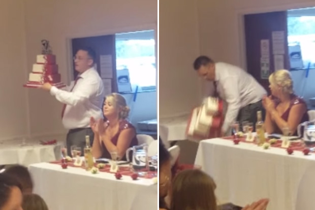 Father of the Bride shocks guests dropping three-tiered wedding cake