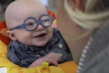 Baby lights up with joy after seeing her mum for the very first time