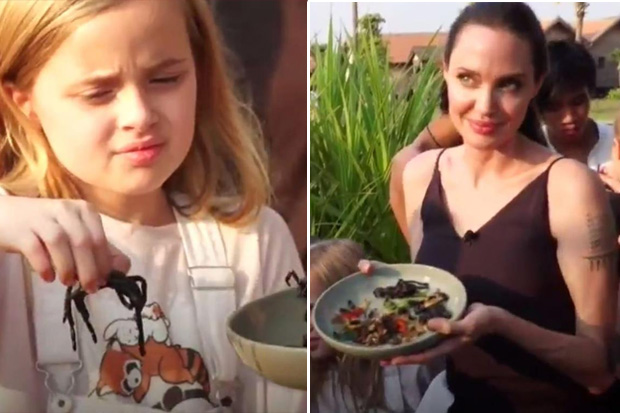 Angelina Jolie tries feeding her kids bugs and spiders