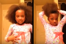 This little girl just wants to do a ponytail tutorial like her mum