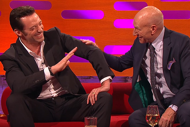 Hugh Jackman doesn't know how to handle Sir Patrick Stewart's ridiculous story