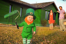 In celebration of St. Patrick's Day, a father turned his 6-month-old into a mischievous leprechaun